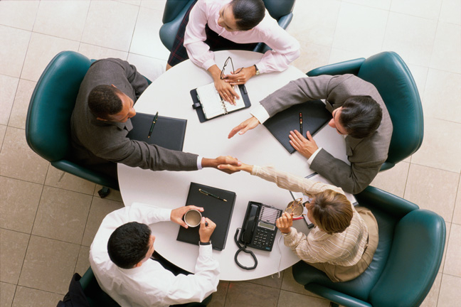High angle view of business executives in a meetin